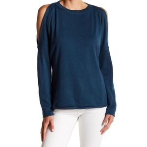 John + Jenn | Blue Cold Shoulder Sweater